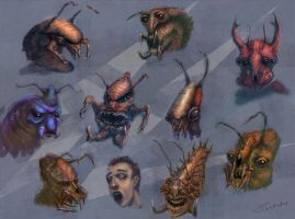 alien bug heads by guang2222