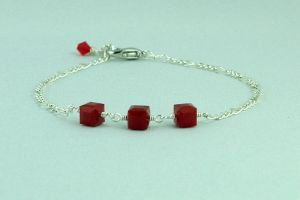 Squares of Red Bracelet by michelleaudette