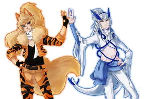Gaiaonline Commission - Arcanine and Lugia Gijinka by Ushimipan