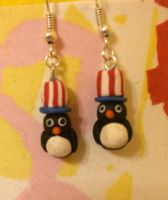 4th of July Patriotic Penguins Earrings by chikki587