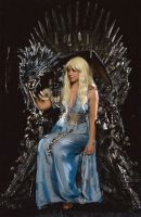 Daenerys on throne with Dragon by Artyfakes