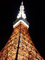 Tokyo Tower at night by MushroomRaccoon