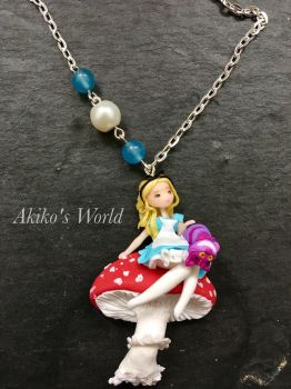 Alice in wonderland - Polymer clay necklace by Akiko-s-World