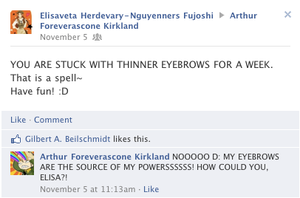 Hetalia Facebook: Eyebrow Spell by gilxoz-epicness
