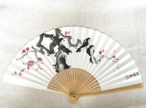 Love Noir, hand-painted Japanese fan by catherinejao