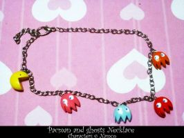 Pacman and Ghosts Necklace by Cryssy-miu