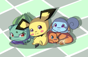 Kanto Starters... And Pichu by Antares25
