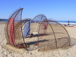 ruined beach shelter by ibendit