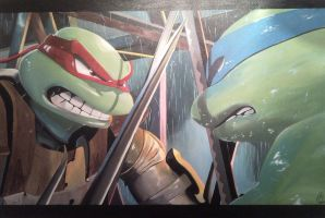 TMNT Raph vs Leo by Spidey0107