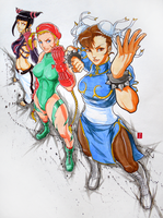Street Fighters: Chun Li, Cammy, Juri by artofJEPROX