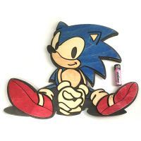 Wooden Sonic the Hedgehog wall art piece by Athey
