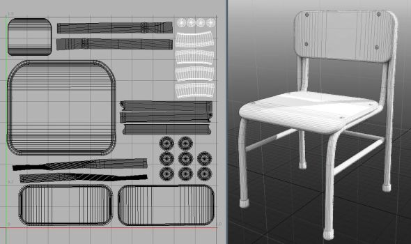 3D School Chair - with 3d file by HumbertTheHorse