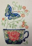 Butterfly Teacup Cross Stitch by silverdragoness