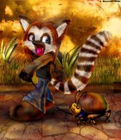 Lemur and her cockroach by noo