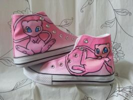 pokemon painted mew canvas trainers by LightningChaser