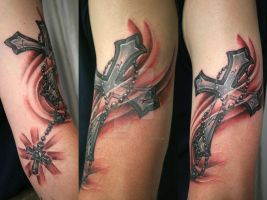 Cross Shine Rosary Tattoo by 2Face-Tattoo