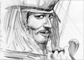 Jack Sparrow Pirates of the Carribean Sketch Card by Stungeon