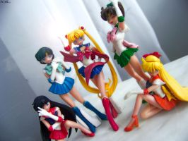 Sailor moon and sailor scouts. by MonotoneInkwell