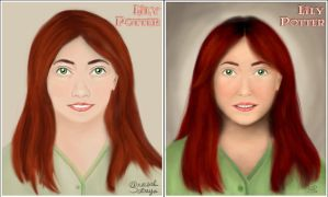 Lily Portrait:  Before-After by aneesah
