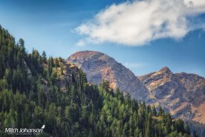 View of Domedary  and Sunrise Peaks by mjohanson