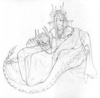 Two Dragons Sketch by Zephyri