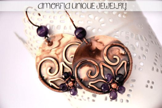 Amethyst flower earrings by amorfia