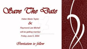 Red spiral Save the Date card by Jdesignx