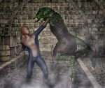 Spiderman vs Lizard inside the sewers by hiram67