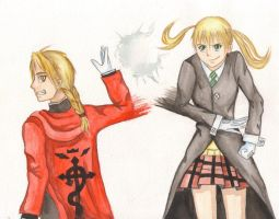 Edward Elric and Maka Albarn by McCreation