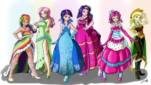 Mane 6 gala dress Humanized! by The-Park