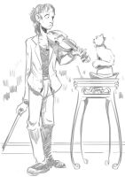 The Deaf Violinist and The Cat by neversummer