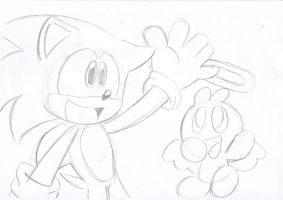 sketch Sonic and hero chao by LeniProduction