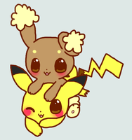 Pikachu x Buneary by cotton-puppy