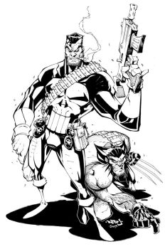 Punisher + Wolvie :: Lineart by Red-J