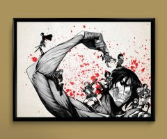 attack on titan eren watercolor print poster by ColourInk