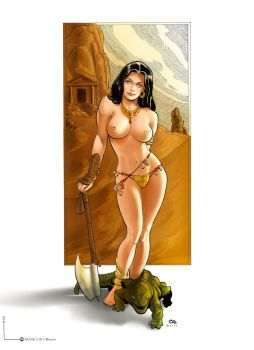 Frank Cho Dejah Thoris with axe painting by Giox
