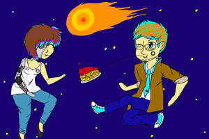 Art Trade: Spaghetti In Space by singingaboutthesnow