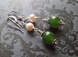 Victorian Jade with Pearl Earrings by QuintessentialArts