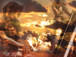 Zack and Aerith Wolf Souls by BlueWolfSoul