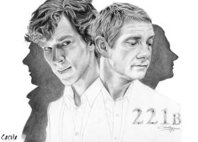 Benedict Cumberbatch and Martin Freeman by cecilepellerinfrance