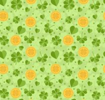 Green clover and gold seamless background vector by FreeIconsdownload