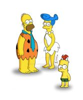 Simpsons meet Flinstones by erykh