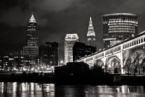 Riverbed view of Cleveland BW by FT69