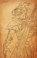 Skyrim Argonian Knight Outline by DJCoulz
