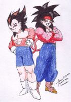 SSJ4 Gokou Jr and Vegeta Jr by hirokada