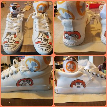 Free form drawn BB-8 sneakers by dawntempest