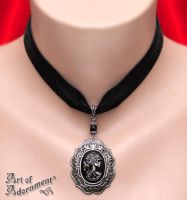 Lolita Skeleton Cameo Black Velvet Pendant Choker by ArtOfAdornment