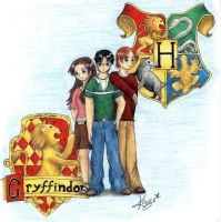 Harry, Hermoine and Ron by Kaze-Chan