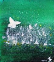White Butterfly in clover blooms by loretta-nash