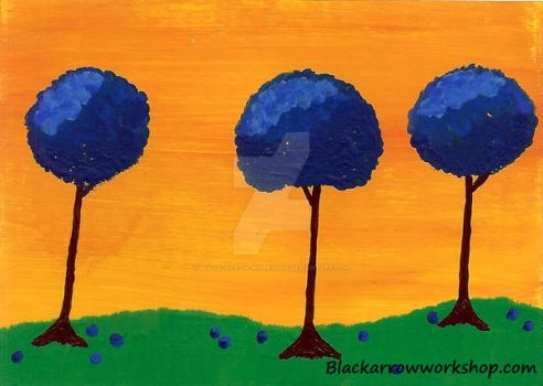 Blue trees ACEO by Black-Arrow-Workshop
